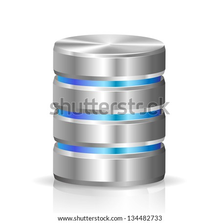 Hard disk and database - stock vector