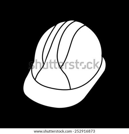 Hard Hat Construction Icon on a black background - stock vector