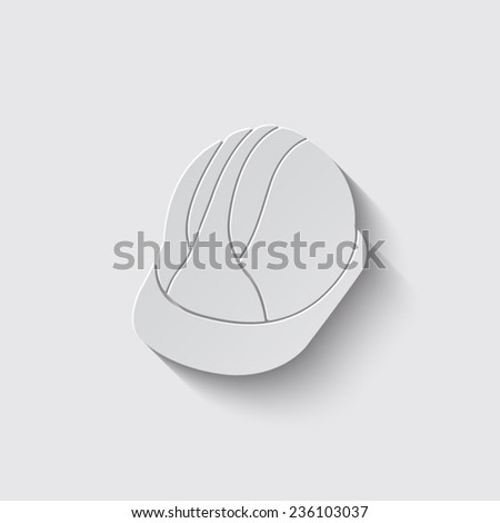 Hard Hat Construction Icon with shadow on a grey background - stock vector