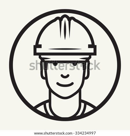 Hard hat safety - Construction worker sign - stock vector