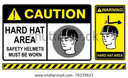 Hard hat safety warning sign. Construction Industry Safety. - stock vector
