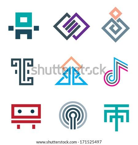 Hard lines simple pixel logo pictogram computer icon set - stock vector