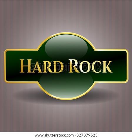 Hard Rock gold badge - stock vector