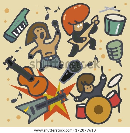 Hard Rock Music set, vintage Vector illustration - stock vector