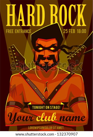 Hard rock poster - stock vector
