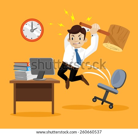 Hard work. Angry businessman. Vector flat illustration - stock vector