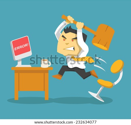 Hard work. Vector flat illustration - stock vector