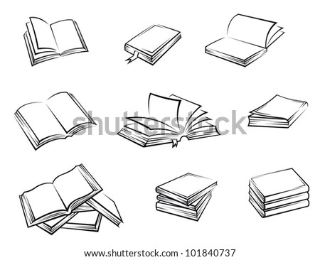 Hardcover books set on white background for education concept design. Jpeg version also available in gallery - stock vector