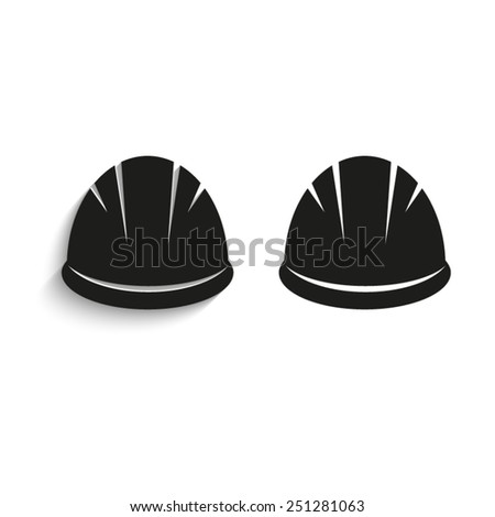 Hardhat - black vector icons - stock vector