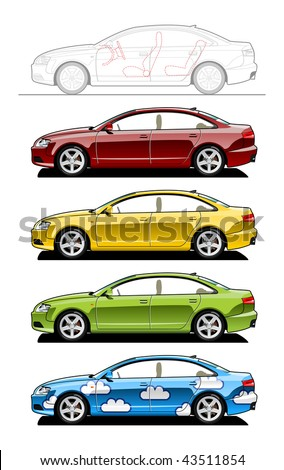 Hardtop. part of my collections  of Car body style. Simple gradients only - no gradient mesh - stock vector