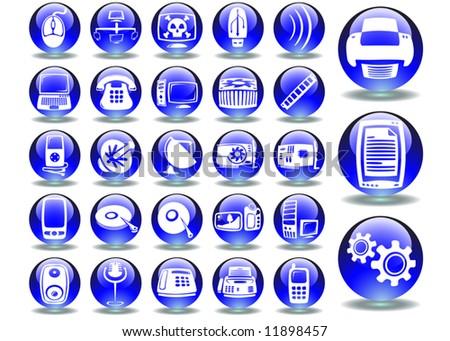 hardware blue sphere art series - stock vector