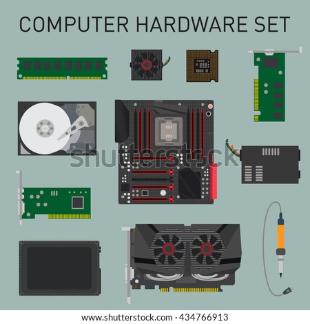 Hardware flat design. Computer elements flat lay. Vector set of items. Vector background. - stock vector