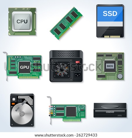 Hardware vector icons - stock vector
