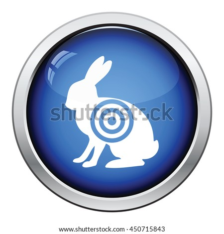Hare silhouette with target  icon. Glossy button design. Vector illustration. - stock vector