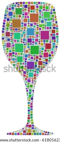 Harlequin glass of wine. A number of 1143 squares have been inserted into the mosaic - stock vector