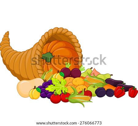 Harvest cornucopia - stock vector