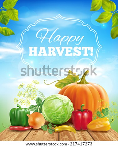 Harvest time sunny background. Vector eps 10. - stock vector