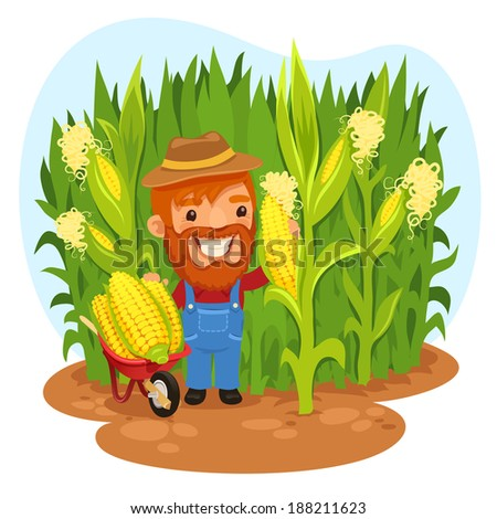 Harvesting Farmer In a Cornfield. In the EPS file, each element is grouped separately. - stock vector