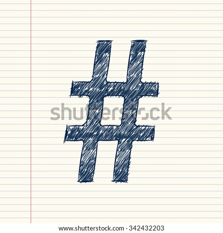 hash pound symbol sketch on white background - stock vector