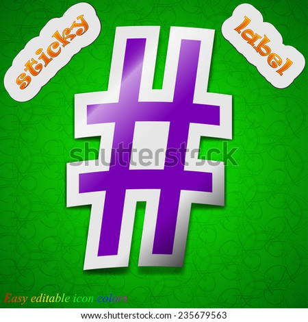 hash tag icon sign. Symbol chic colored sticky label on green background. Vector illustration - stock vector