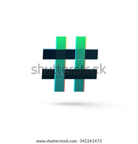 Hashtag icon green and black, number sign, micro blogging network, web communicate, social media pr popularity isolated on white background, basket weaving net vector modern logo design illustration - stock vector