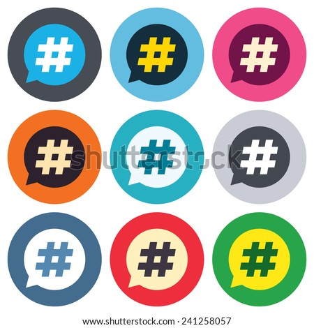 Hashtag speech bubble sign icon. Social media symbol. Colored round buttons. Flat design circle icons set. Vector - stock vector
