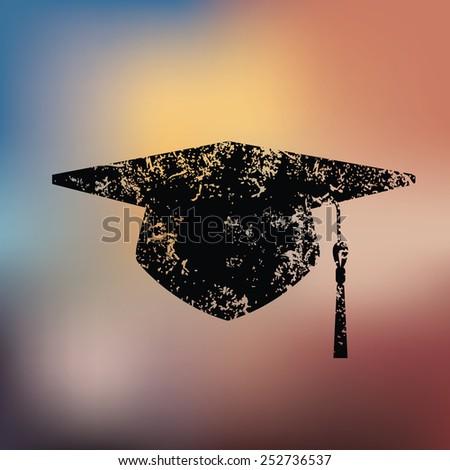Hat education design on blur background,grunge vector - stock vector