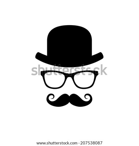 Hat, Glasses and Mustache Set. Vector illustration - stock vector