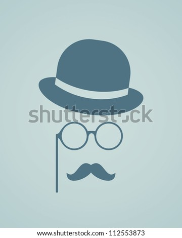 Hat, glasses and mustache. Vector illustration - stock vector