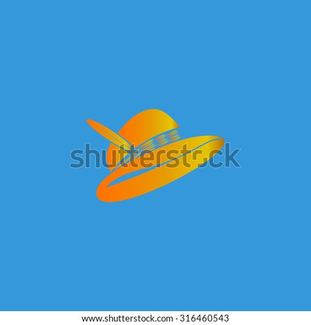 Hat with a feather. Orange vector icon isolated on blue background. Illustration trend symbol - stock vector