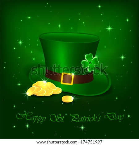 Hat with clover and leprechauns gold on green background, illustration. - stock vector