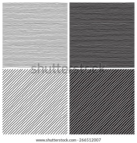 Hatch  patterns. Vector seamless  backgrounds with hatch at doodle style  - stock vector
