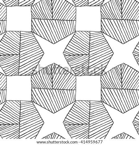 Hatched hexagons forming stars.Black and white simple hatched geometrical pattern.Hand drawn with ink seamless background.Modern hipster style design. - stock vector