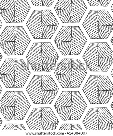 Hatched hexagons with seam.Black and white simple hatched geometrical pattern.Hand drawn with ink seamless background.Modern hipster style design. - stock vector