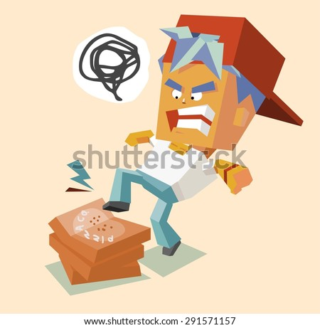 hate angry pizzaman. vector illustration - stock vector