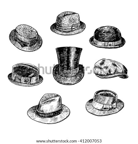 Hats collection, with Fedora, Homburg-hat, Bowler, cowboy, Porkpie, top, Boater, Campaign, Stingy Brim. Hand drawn vector  - stock vector