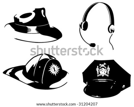 Hats for four professions - stock vector