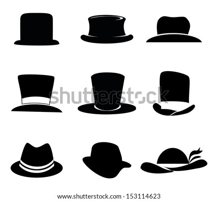 hats icons over white background vector illustration - stock vector