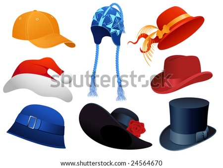 Hats, vector illustration, EPS file included - stock vector