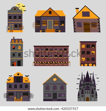 Haunted house creepy haunted scary house with weathered, vintage look horror house for halloween and other spooky occasions. Scary house abandoned night and ghost vintage dark horror house. - stock vector