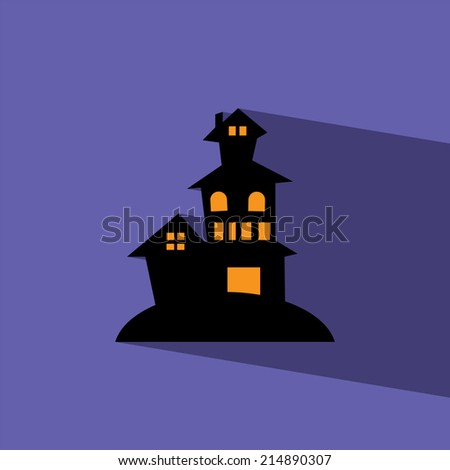 haunted house flat icon  vector illustration eps10   - stock vector