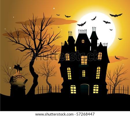 Haunted house halloween background - stock vector