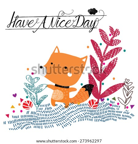 have a nice day fox illustration - stock vector