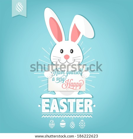 Have Yourself A Very Happy Easter Card Illustration With Easter Eggs And Rabbit - stock vector