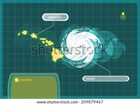 Hawaii Islands Map with Eye of Typhoon, or Storm concept Vector - stock vector