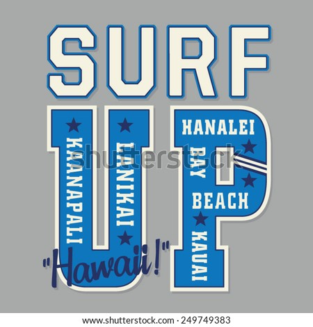 Hawaii surf typography, t)-shirt graphics, vectors - stock vector