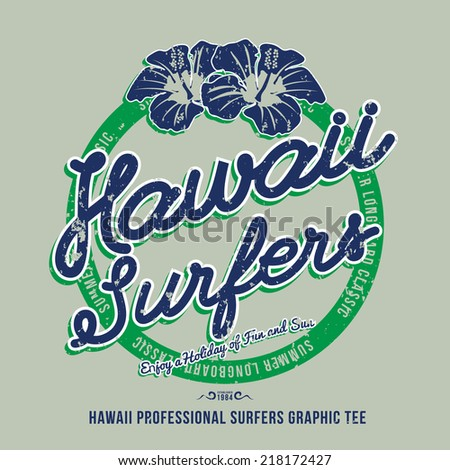 Hawaii surfers. t-shirt graphic. Vector illustration - stock vector