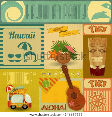 Hawaii Vintage Card. Set of stickers for Hawaiian Party in Retro Style. Vector Illustration. - stock vector