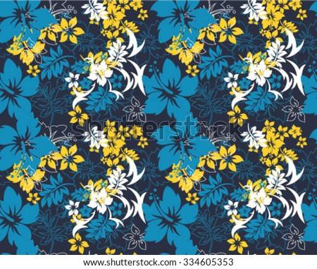 Hawaiian Blue Repeat - stock vector