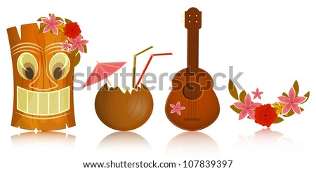 Hawaiian icons - tiki, ukulele, hibiscus on white background - vector illustration - stock vector